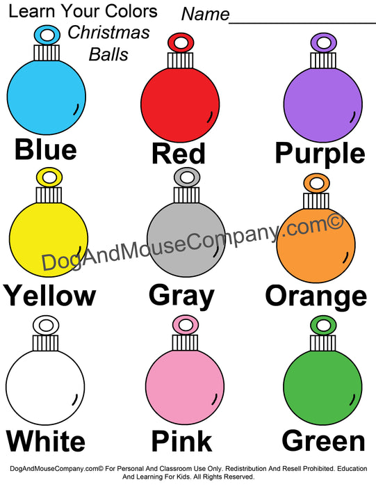 Learn Your Colors Christmas Ball Ornaments Worksheet Printable Digital Download by DogAndMouseCompany.com© Teaching Teach Kids Homeschooling Home School Preschool Pre K Kindergarten blue red purple yellow gray orange white pink green
