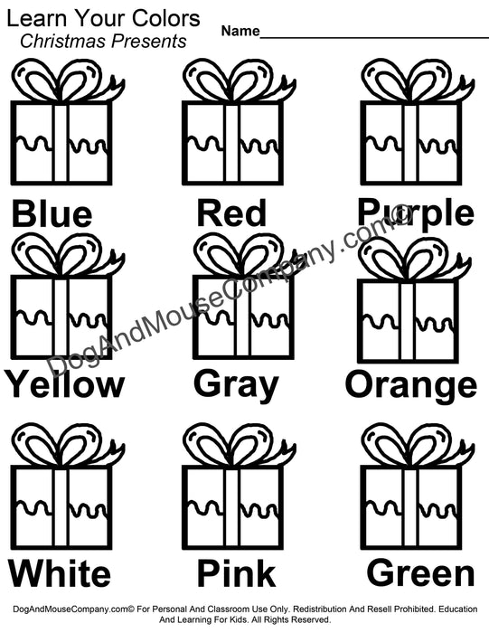 Learn Your Colors Christmas Presents Coloring Page Printable Digital Download by Dog And Mouse Company