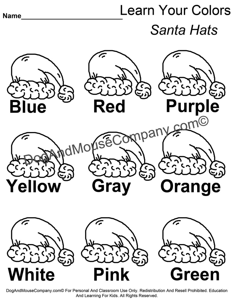 Learn Your Colors Santa Hats Christmas Coloring Page Printable Digital Download by Dog And Mouse Company | DogAndMouseCompany.com