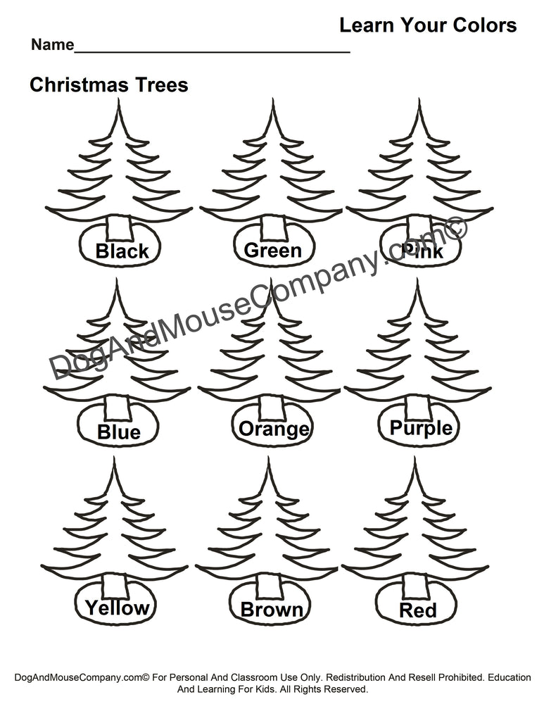 Learn Your Colors Christmas Trees Coloring Page Worksheet Printable Digital Download by Dog And Mouse Company