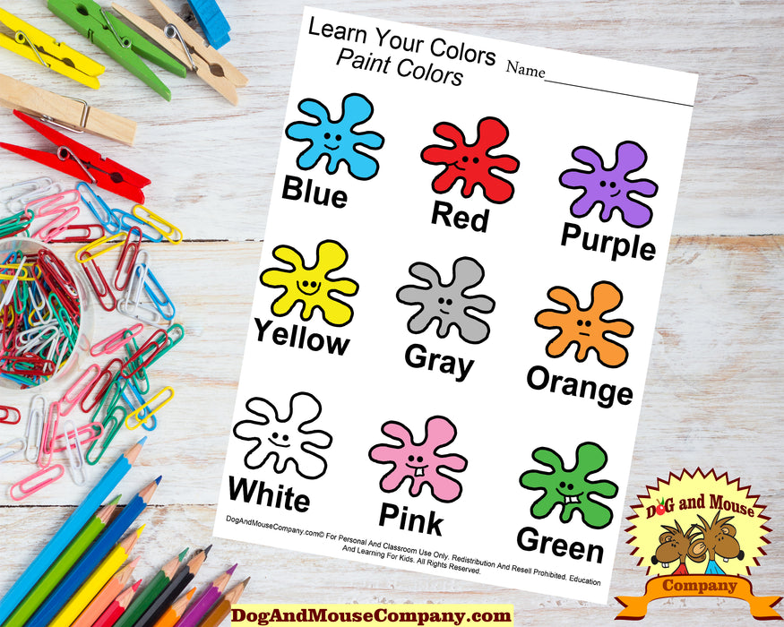 Learn Your Colors Paint Splash Worksheet Printable Digital Download by DogAndMouseCompany.com© Teaching kids Teach preschool pre k kindergarten blue green pink orange purle black red yellow gray