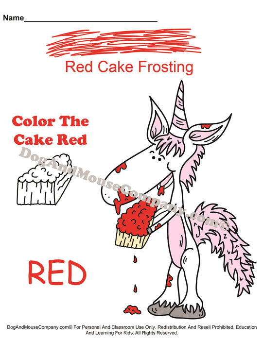 Learn Your Cake Frosting Colors With Mr. Unicorn Preschool Worksheets in Red, Pink, Blue, Orange, Black, Brown, Gray, Purple, Green, and Yellow by dogandmousecompany.com