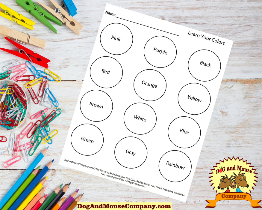 Learn Your Colors With Circles Coloring Page Worksheet Printable Digital Download by Dog And Mouse Company