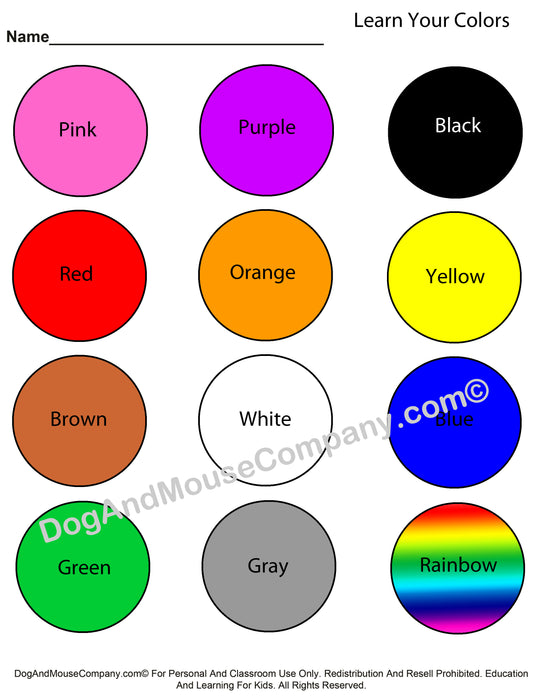 Learn Your Colors Worksheet With Circles Printable Digital Download by Dog And Mouse Company