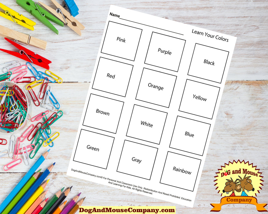 Learn Your Colors With Squares Coloring Page Worksheet Printable Digital Download by Dog And Mouse Company