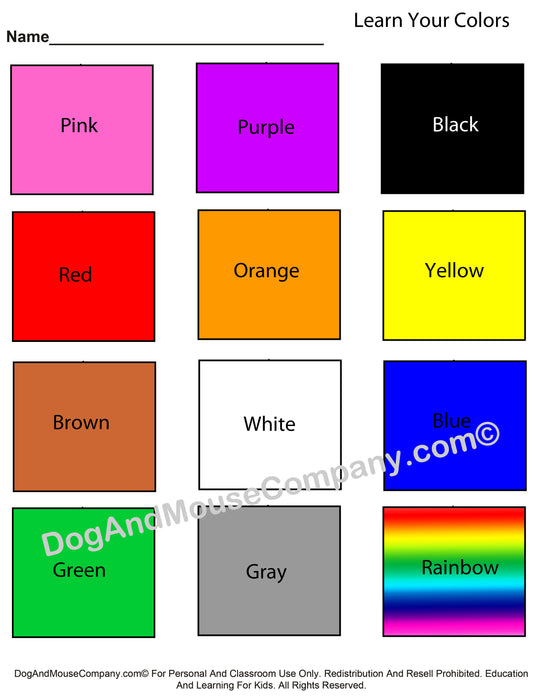 Learn Your Colors Worksheet With Squares Printable Digital Download by Dog And Mouse Company