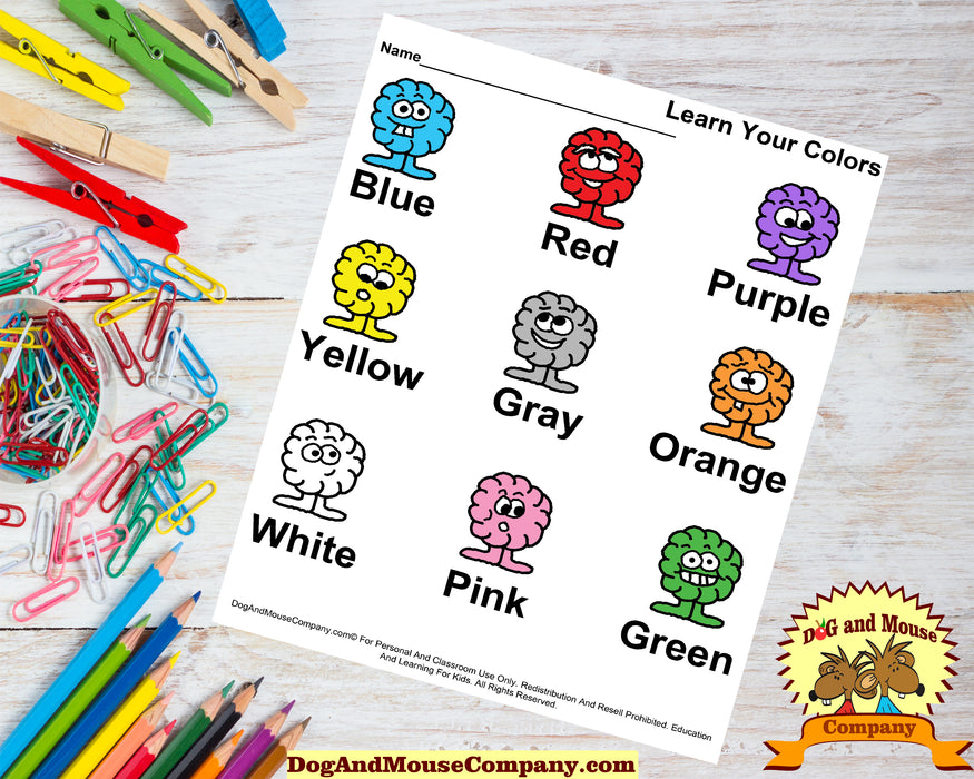 Learn Your Colors Worksheet Printable Digital Download by DogAndMouseCompany.com© Homeschool Preschook Pre K Kids Children Red Blue Green Purple Orange Pink Gray Yellow White