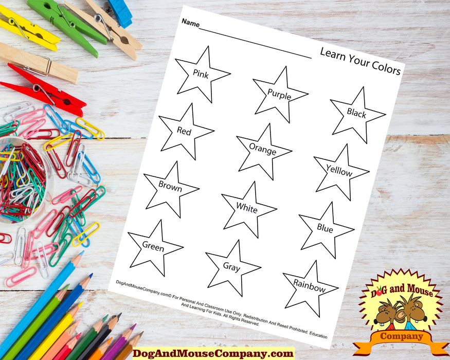 Learn Your Colors With Stars Coloring Page Worksheet Printable Digital Download by Dog And Mouse Company