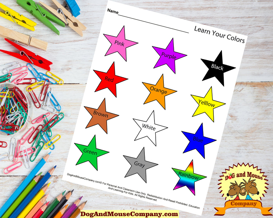 Learn Your Colors Worksheet With Stars Printable Digital Download by Dog And Mouse Company