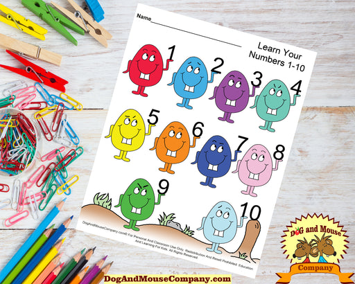 Learn Your Numbers 1 to 10 With Easter Eggs Preschool Worksheets by dogandmousecomany.com