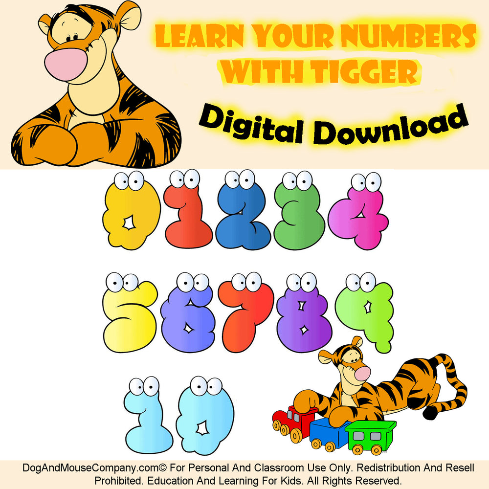 Learn Your Numbers With Tigger Printable Worksheet. Digital Download Preschool Worksheets by Dog And Mouse Company