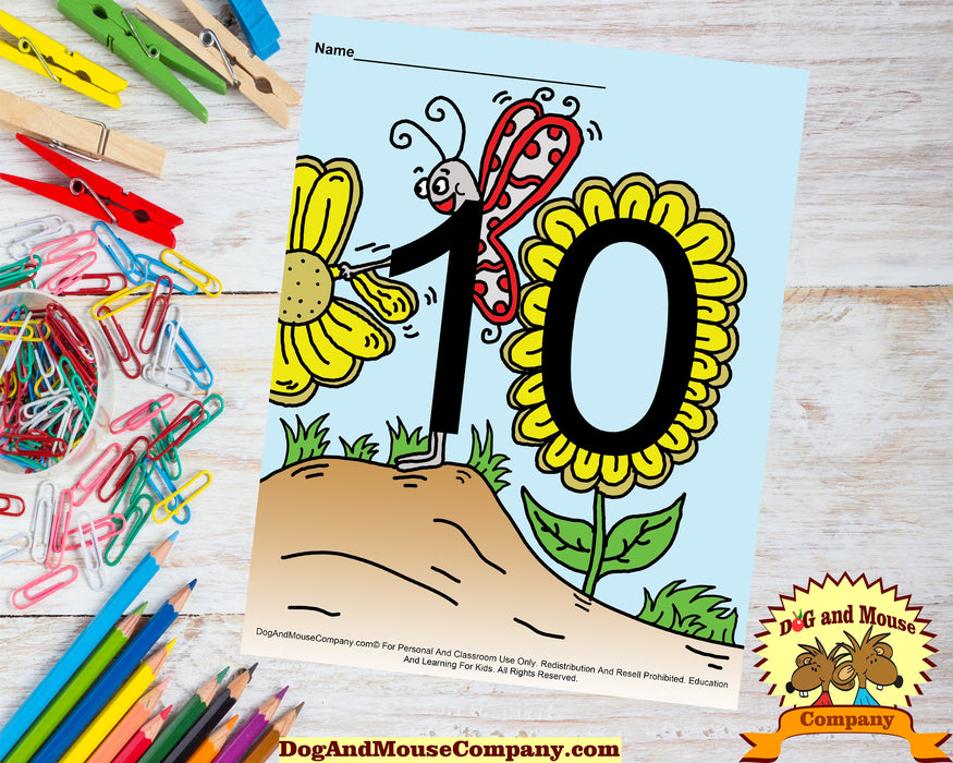 Learn Your Numbers With Butterflies 1 To 10 Preschool Worksheet Bundle by DogAndMouseCompany.com
