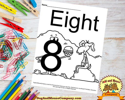 Learn The Number Eight Coloring Page