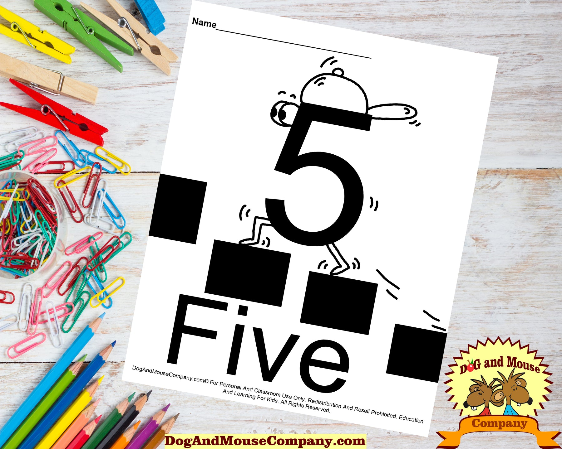 Learn The Number Five Coloring Page Preschool Worksheets by Dog and Mouse Company