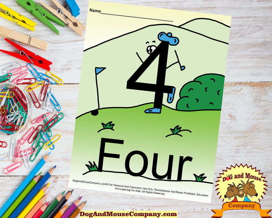 Learn The Number Four Colored Template Preschool Worksheet Dog And Mouse Company