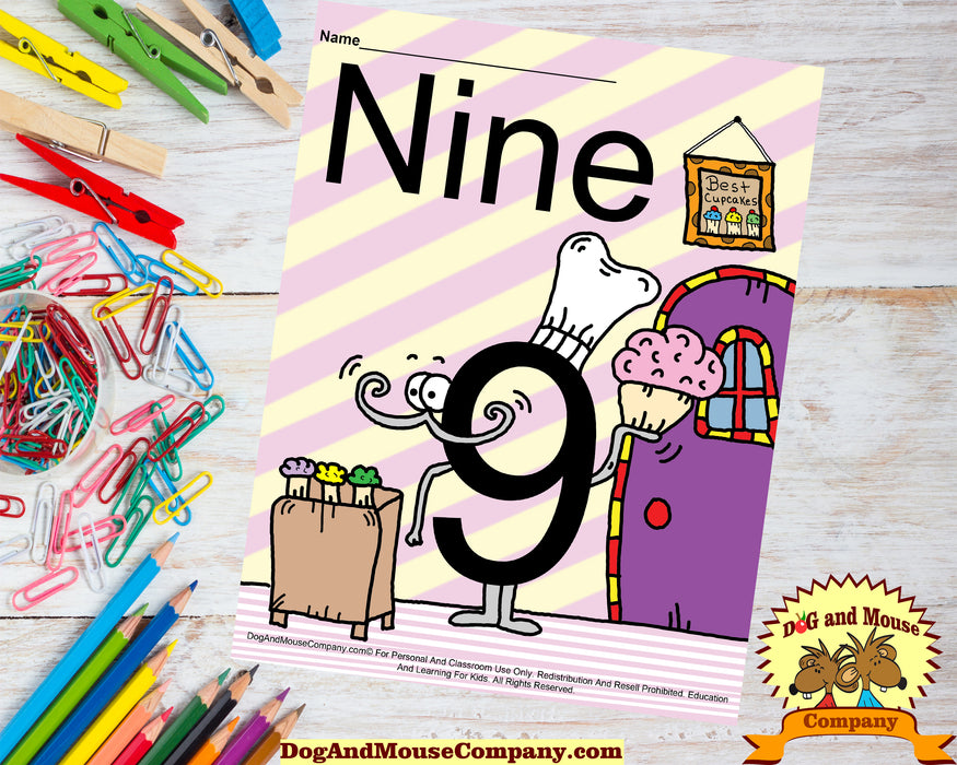 Learn The Number Nine Colored Template Preschool Worksheets by Dog And Mouse Company. Number Nine bakes the best cupcakes