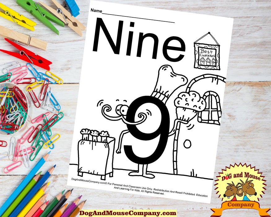 Learn The Number Nine Coloring Page by Dog And Mouse Company. The number nine baker bakes the best cupcakes.