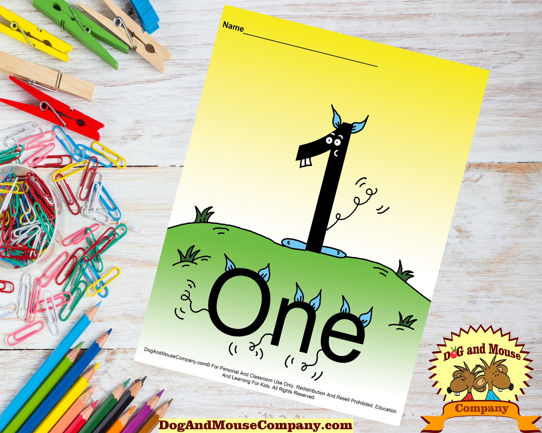 Learn The Number One Colored Template Learn Your Numbers Worksheet Printable digital download by Dog And Mouse Company