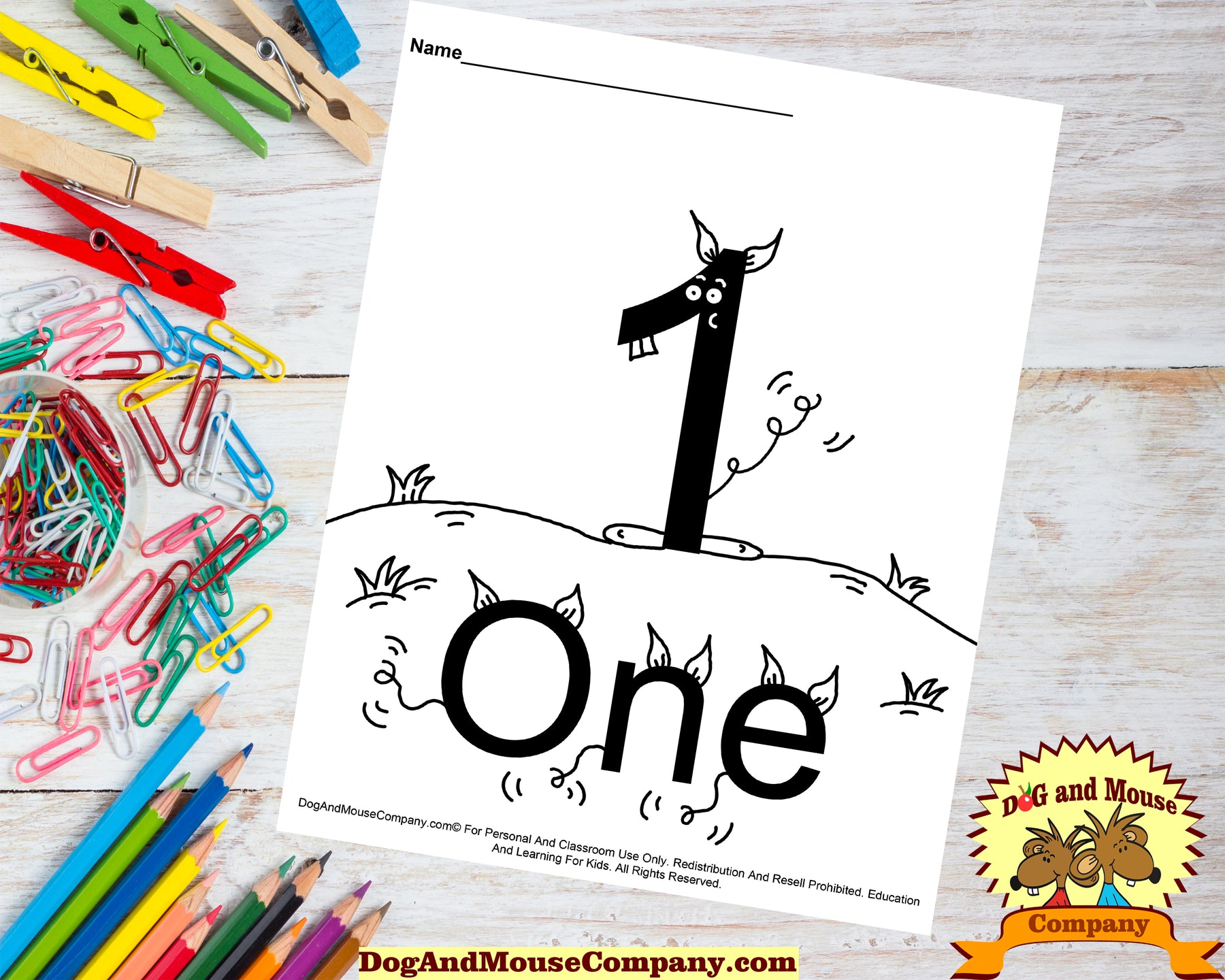 Learn The Number One Coloring Page by Dog And Mouse Company dogandmousecompany.com