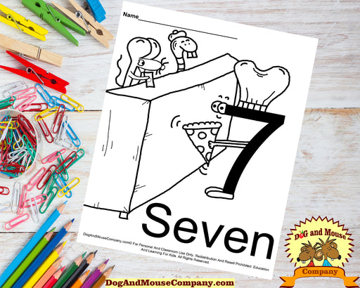 Learn The Number Seven Coloring Page by dogandmousecompany.com | Number Seven selling pizza to a mouse and a snake