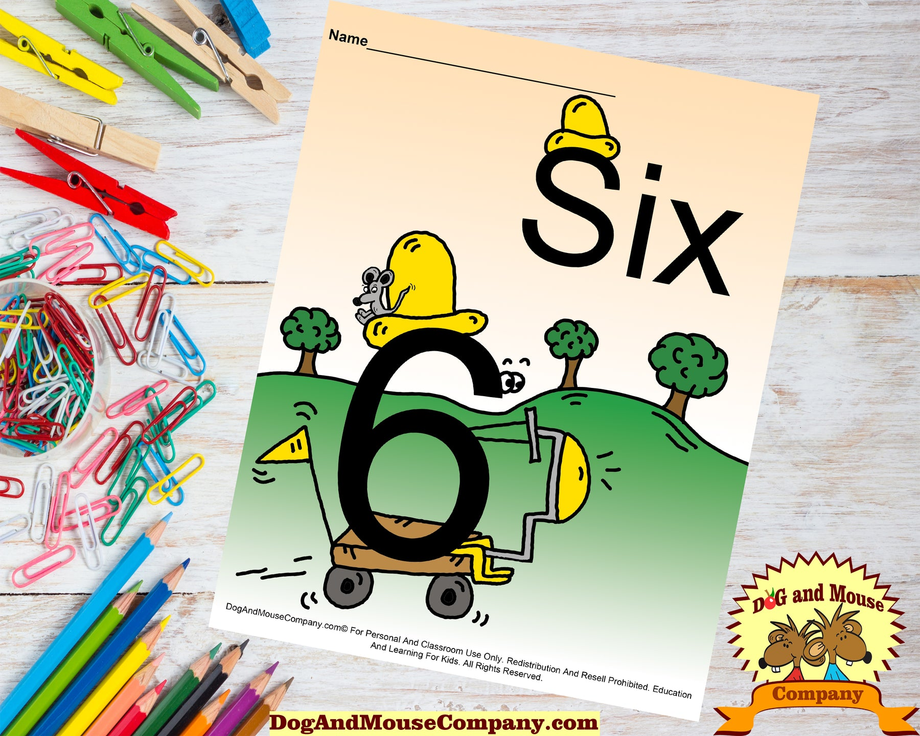Learn The Number Six Colored Template Preschool Worksheets Dog And Mouse Company Riding Scooter With Mouse Sitting On Hat