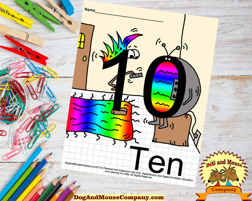 Learn The Number Ten Colored Template by Dog And Mouse Company.  The number one  is changing the channel on the zero.