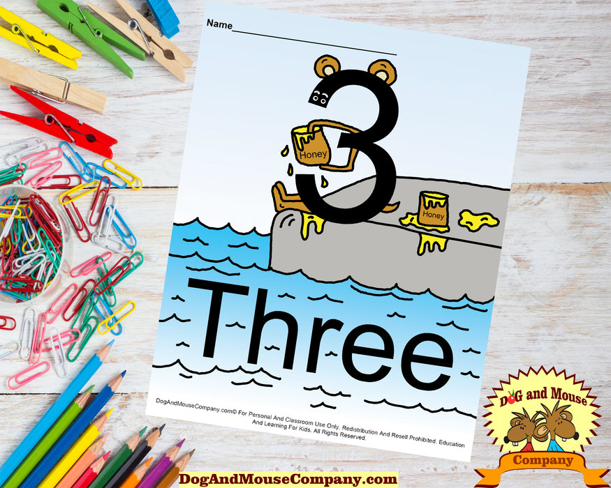 Learn The Number Three Colored Template Preschool Worksheet Dog And Mouse Company | Bear Eating Hunny on deck at water