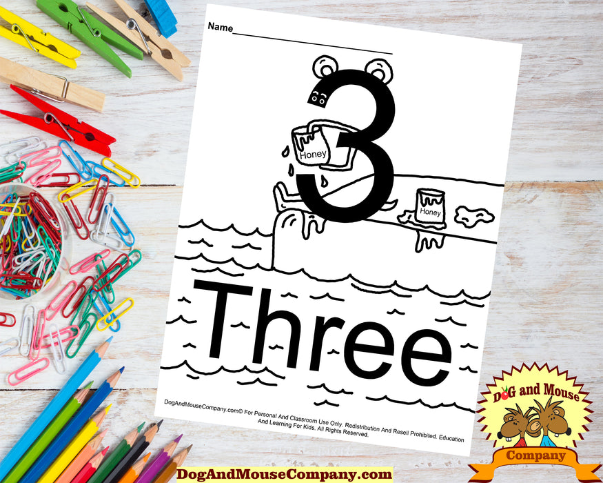 Learn The Number Three Coloring Page Preschool Worksheets Dog And Mouse Company Bear Eating Honey by Water Lake Sitting On Deck