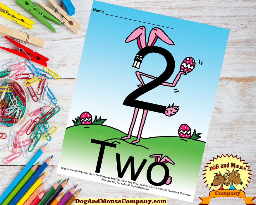 Learn The Number Two Colored Template Preschool Worksheet Learn Your Numbers Dog And Mouse Company | Easter Bunny With Easter Eggs