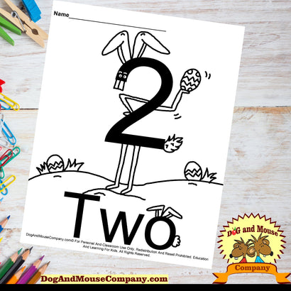 Learn The Number Two Coloring Page Preschool Worksheets Easter Bunny Easter Eggs Dog And Mouse Company