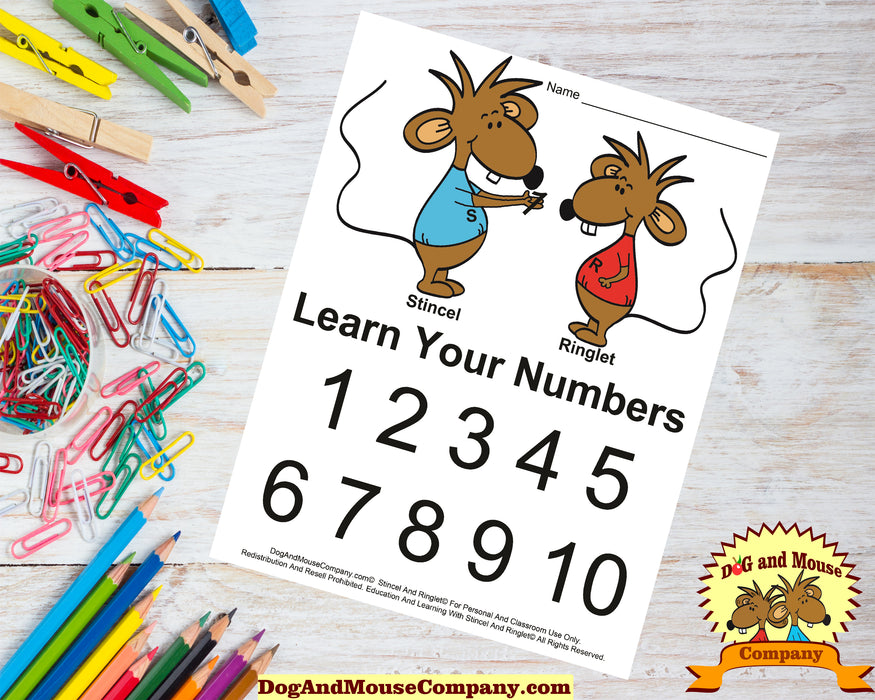 Learn Your Numbers Worksheet 1-10 With Stincel And Ringlet© Printable Digital Download by DogAndMouseCompany.com©