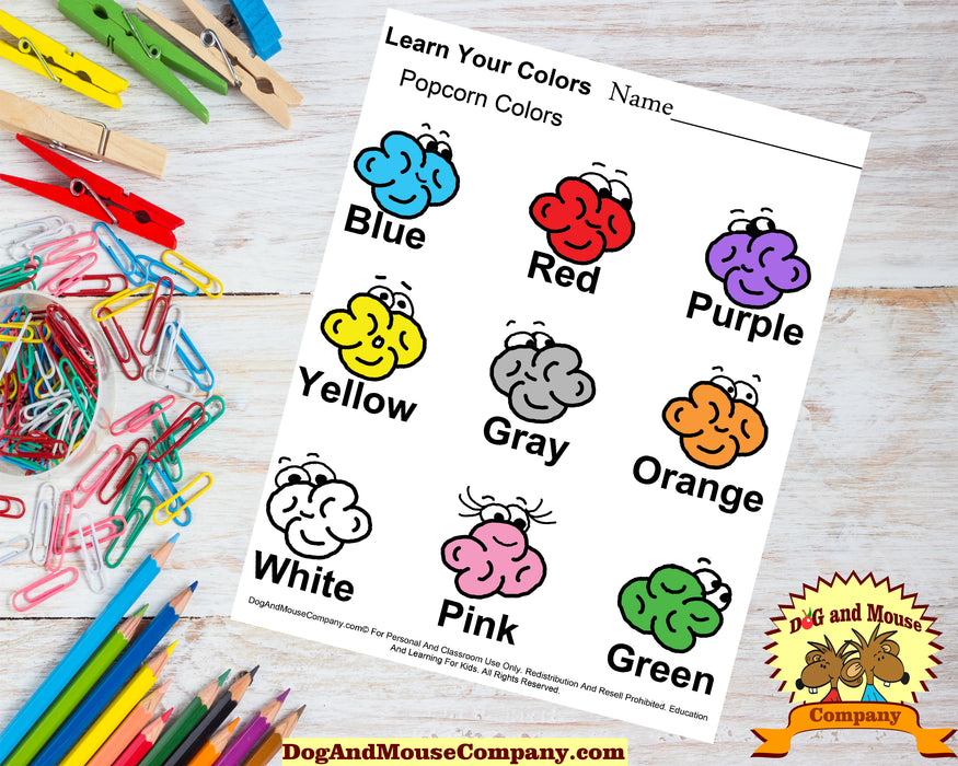 Learn Your Popcorn Colors Worksheet Printable Digital Download by DogAndMouseCompany.com© Food Homeschool Children Kids Preschool Pre K Kindergarten Teach Teaching Curriculum popular the best where can i find online Blue Red purple yellow gray orange white pink green