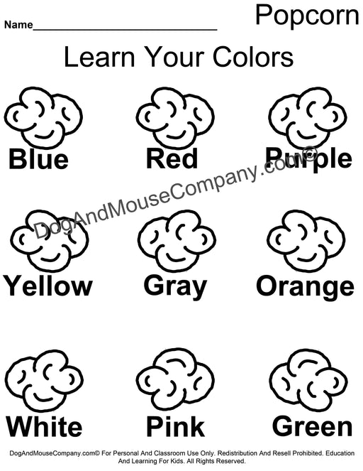 Learn Your Colors Popcorn Coloring Page Worksheet Printable Digital Download by Dog And Mouse Company