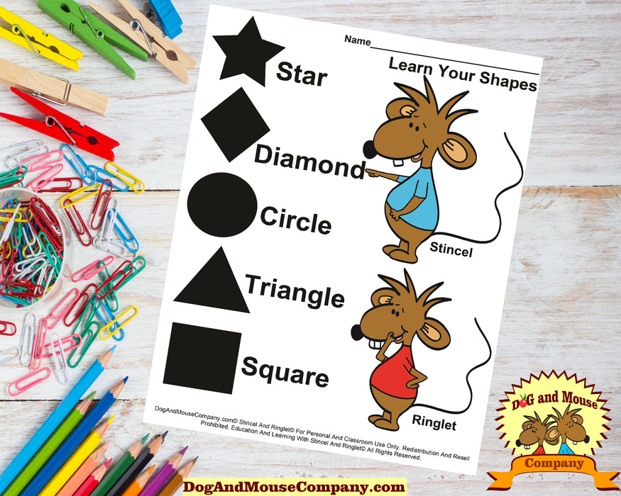 Learn Your Shapes Worksheet With Stincel And Ringlet© Printable Digital Download by DogAndMouseCompany.com© Homeschool Kids Kids Children Star Triangle Diamond Square Circle Shapes