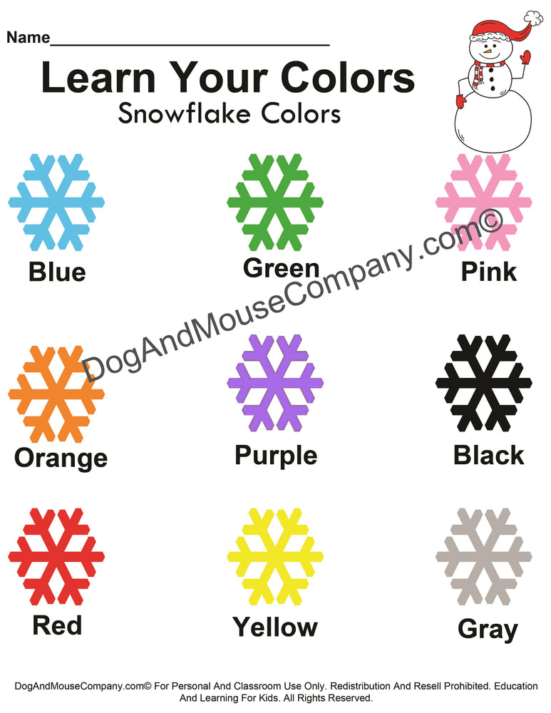 Learn Your Snowflake Colors Christmas Worksheet Printable Digital Download by DogAndMouseCompany.com© Preschool Kids Children Homeschool Snowman