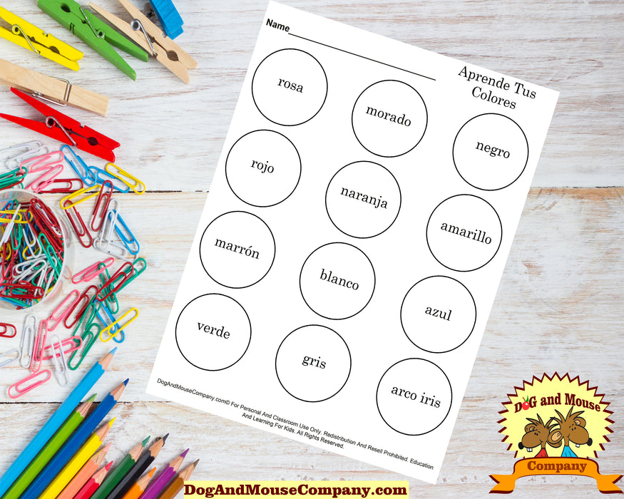 Learn Your Colors In Spanish | Aprende Tus Colores | Coloring Page Worksheet Printable Digital Download by Dog And Mouse Company