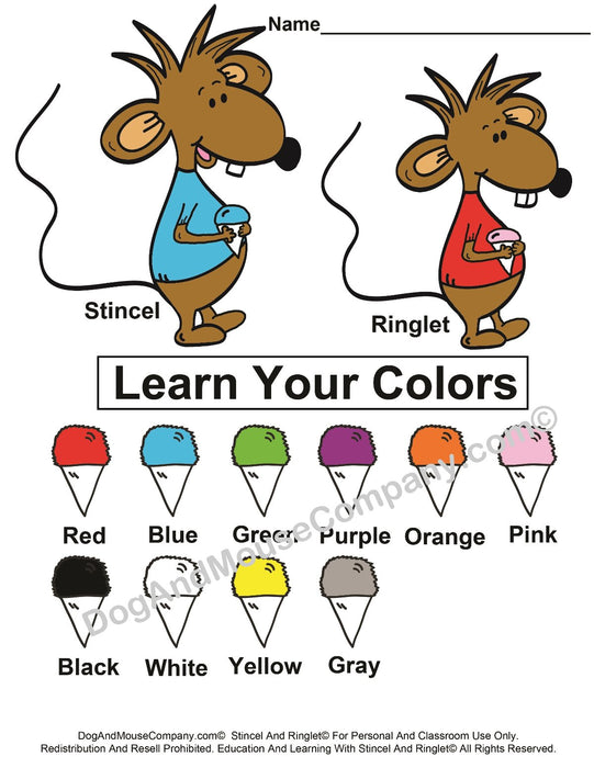 Learn Your Snowcone Colors Worksheet With Stincel And Ringlet© Printable Digital Download by DogAndMouseCompany.com©