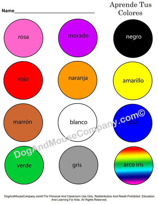 Learn Your Colors In Spanish | Aprende Tus Colores | Printable Digital Download by Dog And Mouse Company
