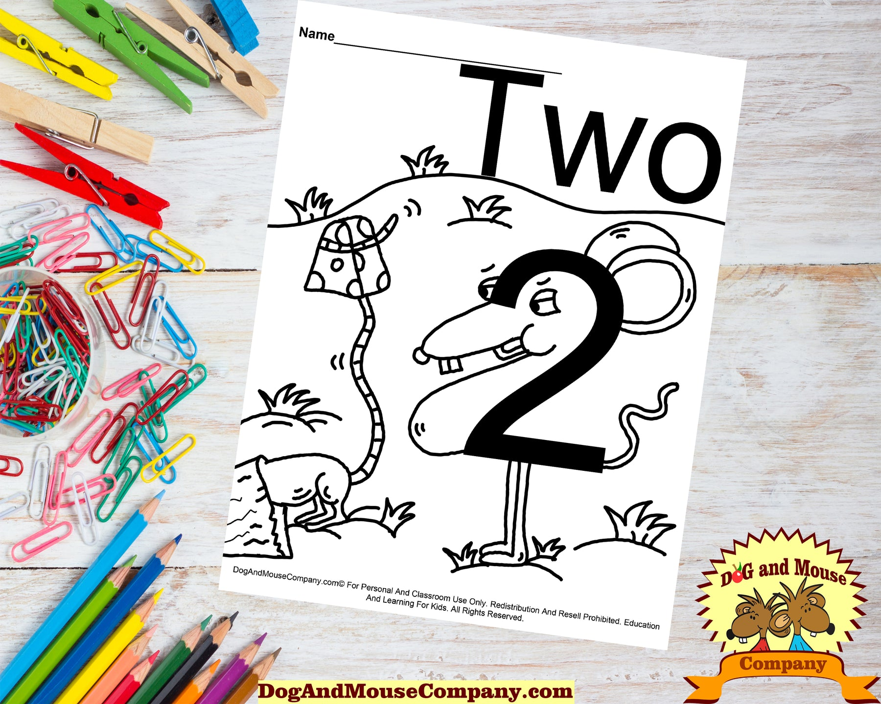 Learn The Number Two With Mice Coloring Page by DogAndMouseCompany.com