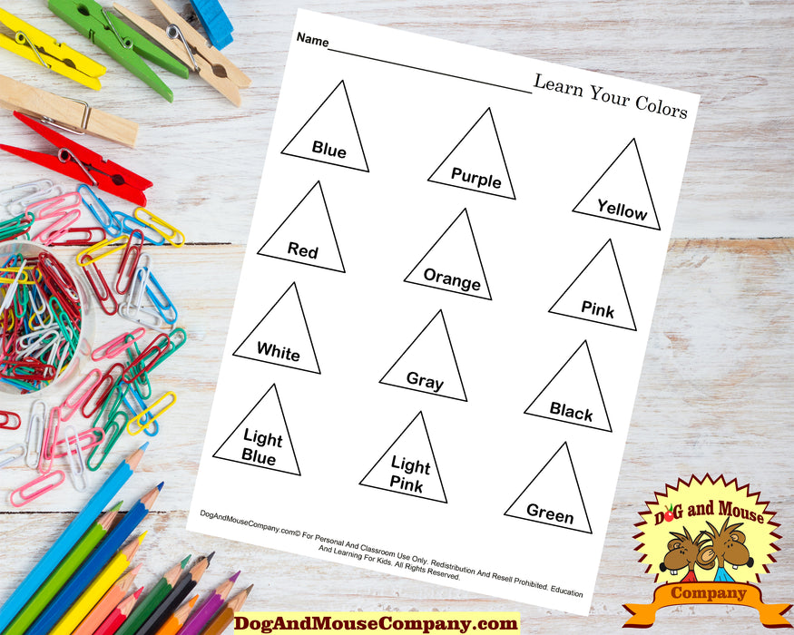 Learn Your Colors With Triangles Coloring Page Worksheet Printable Digital Download by Dog And Mouse Company