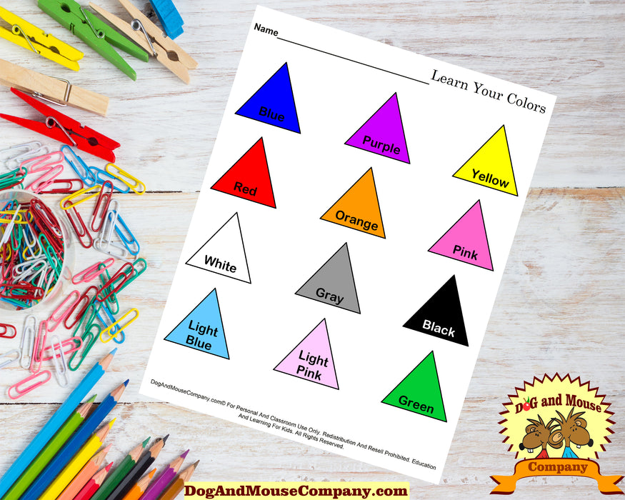 Learn Your Colors Worksheet With Triangles Printable Digital Download by Dog And Mouse Company