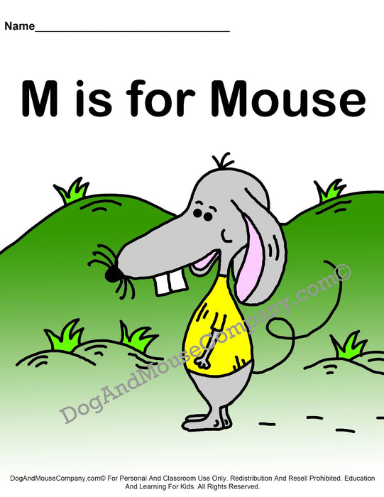 M Is For Mouse Colored Template | Learn Your ABC's Worksheet | Printable Digital Download by Dog And Mouse Company