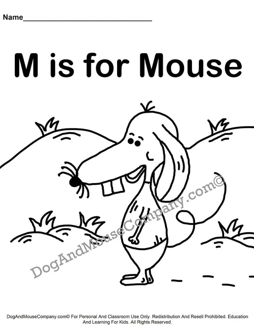 M Is For Mouse Coloring Page | Learn Your ABC's | Worksheet Printable Digital Download by Dog And Mouse Company