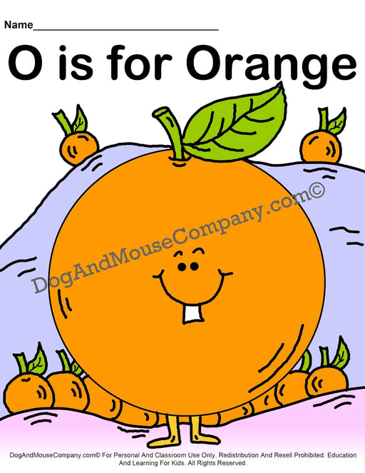 O Is For Orange Colored Template | Learn Your ABC's Worksheet | Printable Digital Download by Dog And Mouse Company