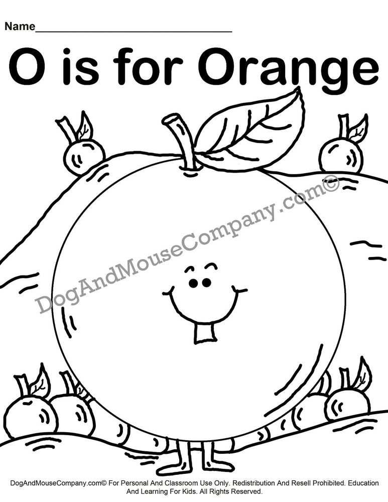O Is For Orange Coloring Page | Learn Your ABC's | Worksheet Printable Digital Download by Dog And Mouse Company