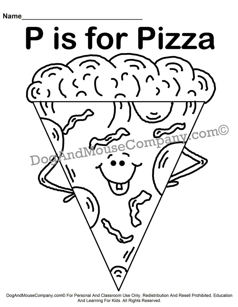 P Is For Pizza Coloring Page | Learn Your ABC's | Worksheet Printable Digital Download by Dog And Mouse Company