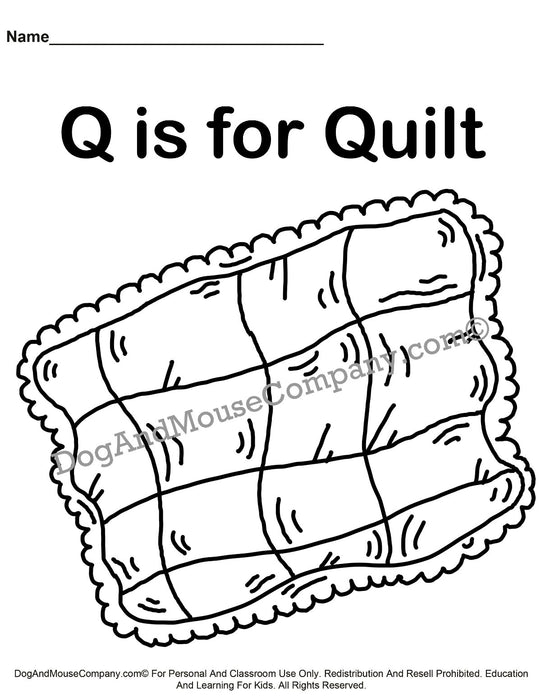 Q Is For Quilt Coloring Page | Learn Your ABC's | Worksheet Printable Digital Download by Dog And Mouse Company