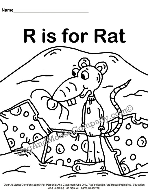 R Is For Rat Coloring Page | Learn Your ABC's | Worksheet Printable Digital Download by Dog And Mouse Company