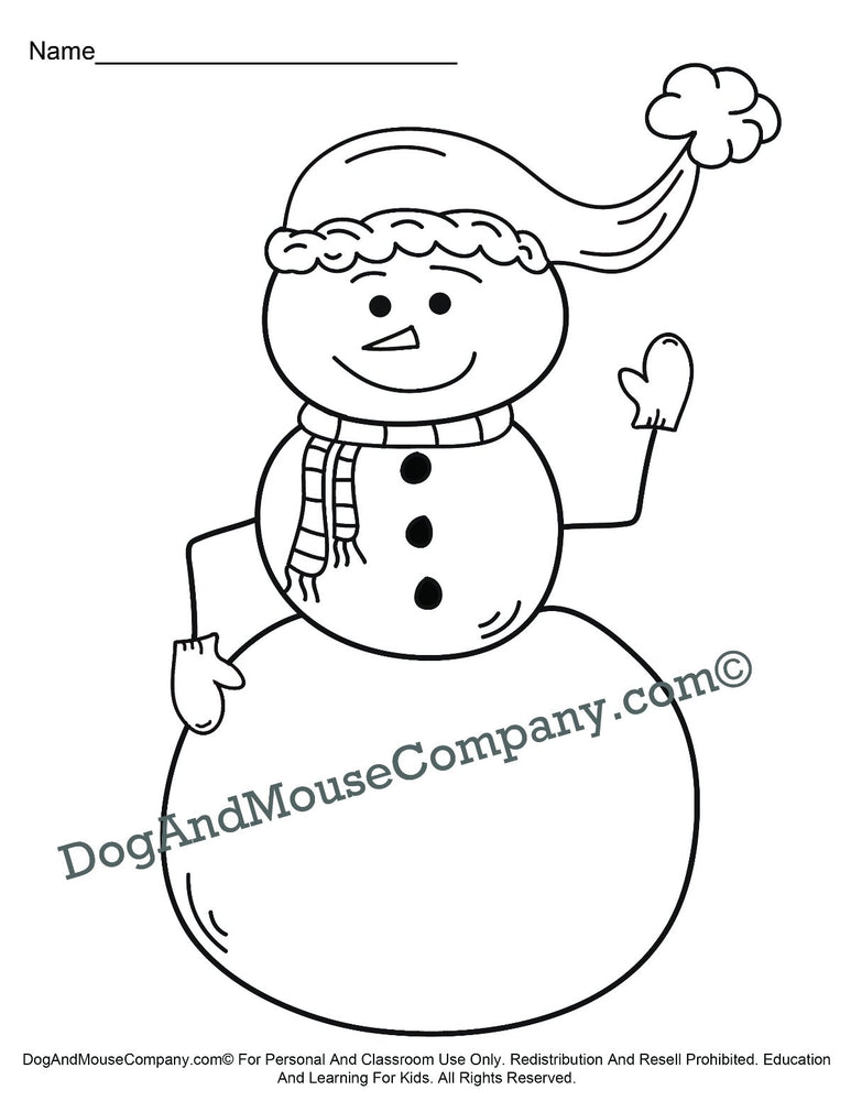 Christmas Snowman Coloring Page Printable Digital Download by Dog And Mouse Company