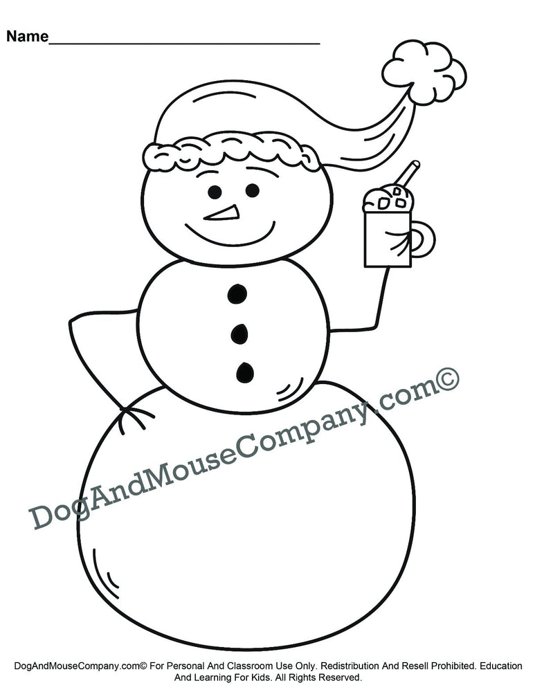 Snowman Drinking Hot Chocolate Christmas Coloring Page Printable Digital Download by Dog And Mouse Company